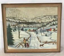 Original New England ? Prim Folk Art Dog Village Scene Painting on Wood signed