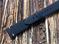Italian Vintage watch band 20mm strap soft genuine leather handmade Blue, Black