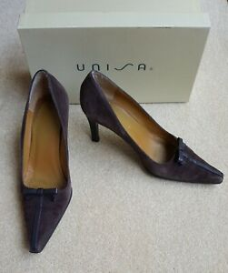 Unisa Dark Brown Suede Court Shoes, Boxed, Size 39/6