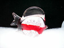 Crystal Paperweight Fish Red and White 4 inches tall 5