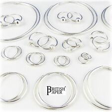 SOLID 925 STERLING SILVER HOOP EARRINGS LARGE SMALL NOSE SETS CLIP BALL ON RINGS