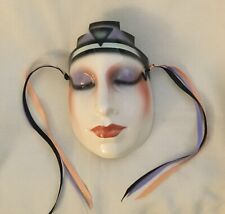 CLAY ART DECO CERAMIC LADY MASK ABOUT FACE WOMAN RETIRED RIBBONS