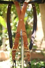 Genuine Leather Two-Camera Harness Belt/Strap - Brown Leather/Bronze Hardware