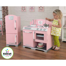 Pink Pretend Kitchen Refrigerator Toy Kids Cooking Play Set Food Retro Toddler