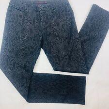 Liverpool Womens Jeans 10 Black Slim Straight Snake Print Medium Wash Let It Be