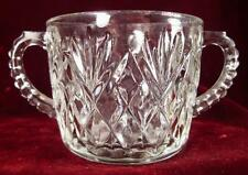 Pineapple & Fan Sugar Bowl Clear Glass Handles Diamonds 40s 50s 60s (O2) AS IS
