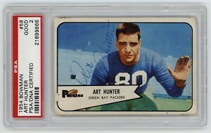 1954 PACKERS Art Hunter signed ROOKIE card Bowman #58 PSA/DNA Slab AUTO RC