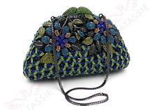 BAG SOIREE// EVENING BLUE GREEN AQUA GOLD DIAMONDS SEQUINS FLOWERS 18X12X5.5CM