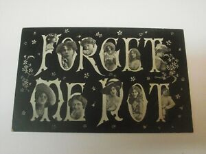 ANTIQUE PHOTO FORGET ME NOT POSTCARD DIFFERENT LADY HEAD IN EACH LETTER