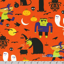 Robert Kaufman Eerie Alley Frankenstein Witch Ghost Pumpkin Fabric BHY