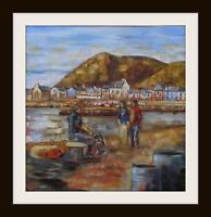 """Old Fishermans Tales Original Marine Oil Painting by Kevin Corroue 12"""" X 12"""""""