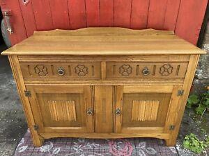 Old Charm Jaycee Style Carved Oak Sideboard - Linenfold Doors