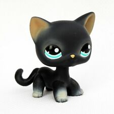 littlest pet shop toys LPS black cat #994 short hair kitty toys green eyes