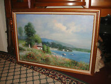 S Wilkinson Signed Oil Painting On Canvas-Woman Flowers Sea Cottage Country-LQQK