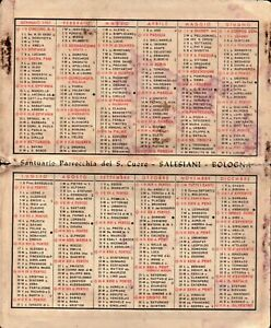 1961 - CALENDARIO TASCABILE PARROCCHIA DEL SACRO CUORE SALESIANI BOLOGNA