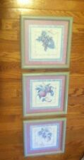 "Home Interiors Set/3 Homco Fruit Apples Grapes Lemons 11.5"" Square Pictures"