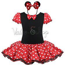 Kids Girl Baby Minnie Mouse Party Costume Ballet Tutu Gown Dress+Headband Red 2T