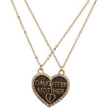 Lux Accessories Daughter Mother Mom Broken Pave Heart Textured BFF Best Friends