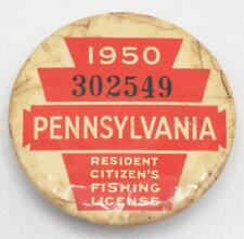 1950 PA Pennsylvania Fishing License Resident Button Vintage
