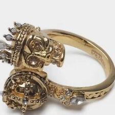 Alexander McQueen Gold Tone Crystal Encrusted Skull Ring Adjustable