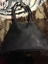 DKNY Large Saffiano Leather Zip Tote Black/Tan Interior