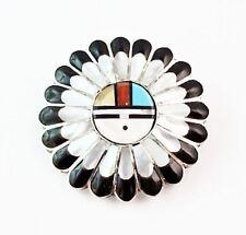 Vintage Zuni Sunface Turquoise Multi Inlay Pin