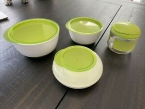 OXO Tot Lot of 4-(1) Small & Large Bowl Set W/ Snap on Lids (2) Snack Cups Green