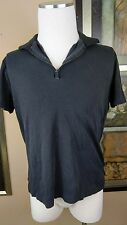 Kenneth Cole Reaction Mens Size Large Large Black Zipper Down Shirt Faded