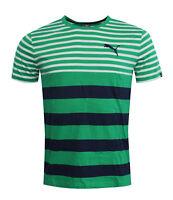Puma FUN Dry Striped Mens Tee T-Shirt Short Sleeved Top Green 838853 09 RW47