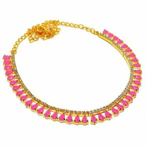 Pink Chalcedony Topaz Handmade Gold Overlay Silver Jewelry N-96 Necklace 18""
