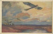German WW1 Postcard Aeroplanes Aircraft Leaving A Bombed Town 1915 (153)
