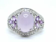 Purple Quartz Cabochon, Amethyst & Diamonds 0.26ct.White Gold 9K. Size N 1/2