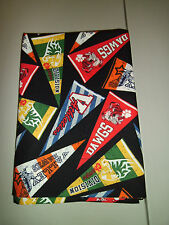 1-Colorful Sport Pennants King Size Cotton Pillowcase    New & Handmade!