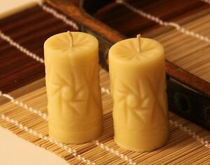 (2) Handmade 100% Pure Beeswax Candle Crystal Shape 100% Cotton Wick