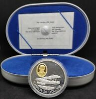 1992 CANADA 20 DOLLARS SILVER 1OZ PROOF CURTISS JN-4 OVAL GOLD CAMEO COA NEW