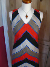 Ladies HOBBS striped red beige black flax linen SHIFT DRESS size UK10