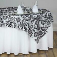 """Lot of 4 New 60""""x60"""" Square Black White Damask Flocked Tablecloths"""
