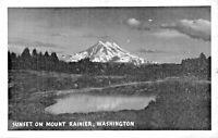 SUNSET ON MOUNT RAINIER WASHINGTON 1944 POSTCARD