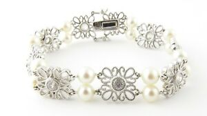 Tacori Sterling Silver Cubic Zirconia and Pearl Bracelet
