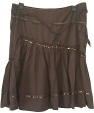 Next Ladies Laundered Look Brown Sequin Skirt Size 18