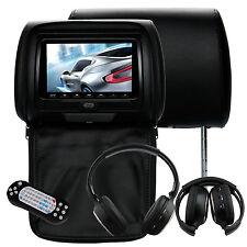 "IR HeadPhone+2x 7"" Car Headrest DVD Player Radio Monitor+Free Game Handles Black"