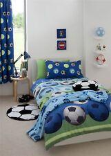 Doble Reversible Fútbol Azul Edredón de algodón Juego Funda Juego Cubre Cama