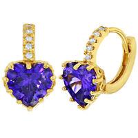 14k Gold Plated Purple Clear Crystal Heart Hoop Huggie Earrings for Women