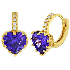 14k Gold Plated Purple Clear Crystal Heart Hoop Huggie Earrings for Women