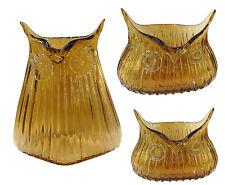 3 er Set Dekovase Eule orange Glasvase Vintage Vase Glas Retro Tischvasche