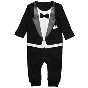 Baby Boys Formal Tuxedo Suit Outfit Party Wedding Photo Pros Romper Size 000-2