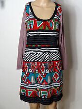 Kleid Gr. D-M bunt knielang Stiefel Kleid im India Ethno Look aus Spanien NEU