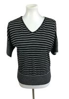Cable & Gauge Women's Size M Striped Knit Short Dolman Sleeve Top Black White
