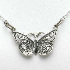 Vintage Black Enamel 925 Silver Butterfly Necklace Pendant Handmade sterling