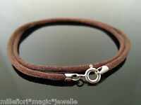 """2mm Brown Silk Style Cord & 925 Sterling Silver Necklace 14"""" 16"""" 18"""" 20"""" 22"""" 24"""""""